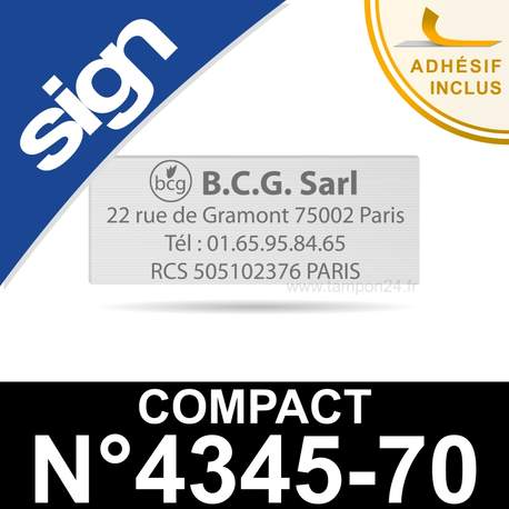 Empreinte caoutchouc personnalisée pour Sign Compact n°4345-70